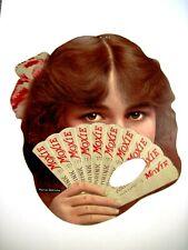 "Fantastic 1916 ""Moxie"" Cardboard Sign w/ Actress Muriel Ostriche Behind Fan  *"