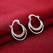 Elegant 925 Sterling Silver Filled Woman Hoop CZ Hoogies Earrings E-A669