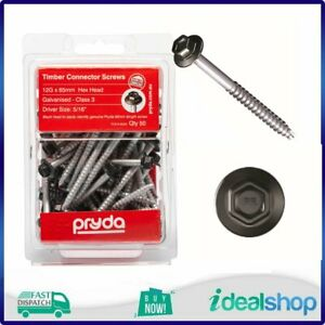 Pryda Timber Connector Screw 12G x 65mm Hex Head Pack 50