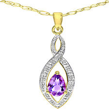 Naava 9ct Yellow Gold, Diamond and Amethyst Women's Pendant + Chain (PP03616YAM)