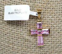 Gold Electroplated Cross Crucifix Pink Tapered Banquette Cut Rhinestones TAGS