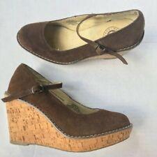 Old Navy Brown Suede Mary Jane Buckle Platform Style Wedge Heels 8M