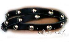Goth : Bracelet Cuir MARRON Foncé Noir Clous Metal 3 Tours à pression Gothique
