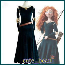 Victorian Renaissa Princess Merida Dress Brave Legend Cosplay Costume Halloween