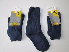 3 X Plain Navy blue Thermal Ankle socks 6-8.5 Shoe Size Children Kids