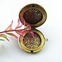 2 pcs Antiqued Bronze Brass Flower Pattern Round Locket Box Charms Pendants