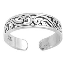 Adjustable Wave Toe Rings Sterling Silver 925 Fashion Beach Jewelry 4 mm
