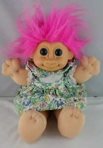 "Russ Troll Kidz Doll Vintage 12"" Plush With Floral Dress Pink Hair"