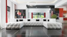 Designer Chesterfield XXL Wohnlandschaft Kristalle Textil Leder Sofa Couch Neu A