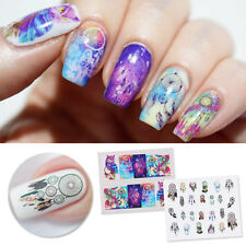 2Sheets Dreamcatcher Owl Water Decals Colorful Manicure Nail Art Stickers DIY