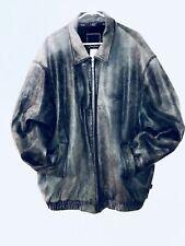 SEAN JOHN MENS GREEN MOTORCYCLE 100% Genuine Leather Jacket  Sz. 4XL