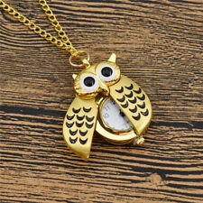 Vintage Owl Clock Necklace Retro Pocket Watch Pendant Women Mens Jewelry Chain
