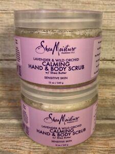 Shea Moisture Lavender & Wild Orchid Hand/Body Scrub w/ shea butter lot of 2