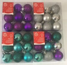 Christmas Tree Baubles Purple Blue Silver Red Gold Glitter and Matte 4cm
