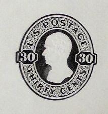 1874+ Us Plimpton #U204 Black-on-White 30c Pse Cut Square.Over-sized example