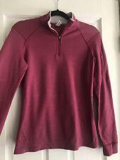 Ibex womens M merino wool Zip neck Shirt Pink made in Usa