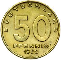 DDR - Münze - 50 Pfennig 1950 A - Fabrik - Münzstätte Berlin