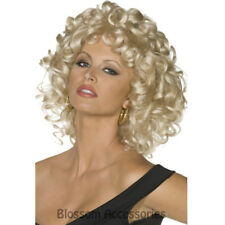 W364 Ladies Grease Sandy Last Scene Wig Blonde 50s 60s Disco Costume Accessory