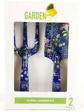 Floral Garden Kit 2 piece Set Shovel & Rake Metal Blue Brand New