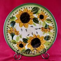 """Tabletops Unlimited """"Provincial Sunflowers"""" Hand-painted 11"""" Dinner Plate"""