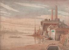 BOATS ENGLISH DOCKYARD Watercolour Painting c1930 IMPRESSIONIST