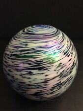 Art Glass Iridescent Paperweight: Blue & White Swirl Design - Beautiful!