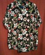 3e993941b69 Womens Maggie Barnes 18W Black Floral Short Sleeve Blouse Top Button Down