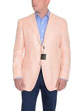 Sartoria Partenopea 40R 50 Peach Check 3-Roll-2 Cashmere Linen Sportcoat