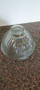 Dome Shaped  Light Cover Fixture Clear Ribbed Glass Lampshade Replacement