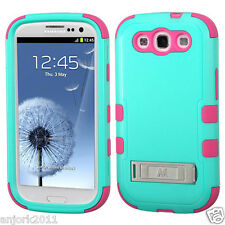 Samsung Galaxy S3 Hybrid T Armor Case Skin Cover with Kickstand Teal Green Pink