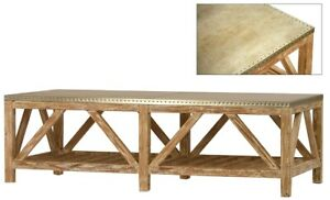 """55"""" Long Coffee Table Reclaimed Pine Base Clear Sealed Finish Zinc Me 105"""