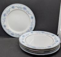Noritake Fine China Blue Hill 2482 Floral Silver Rim 5 pc Salad Plates