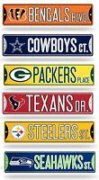"""NFL Football Bling Street Sign 3.75"""" x 16"""" (Glitter) - Pick Team"""
