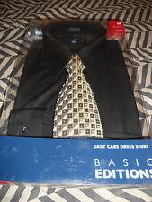 Basic Editions Long Sleeve Button Up Dress Shirt & Tie Sz M 32-33 15 1/2