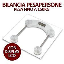 BILANCIA MASSA CORPOREA PESA PERSONE QUADRATA DIGITALE 150 KG LCD RIPIANO VETRO