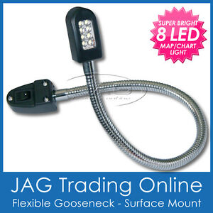 12V 8-LED FLEXIBLE GOOSENECK READING CHART/MAP LIGHT & SWITCH - Caravan/RV/Boat