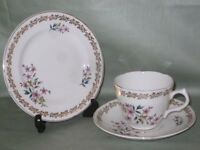 Vintage Royal Grafton Bone China Trio Tea Cup Saucer & Plate Pink Floral Pattern