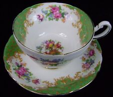 Paragon Rockingham Green Footed Tea Cup & Saucer Set England Fine Bone China