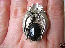 Großer echter Silber Ring mit schwarzem ovalen Schmuck Stein 7,3 g /Gr.:18,5 mm