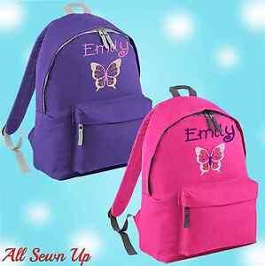 Embroidered Bfly Personalised Rucksack, Junior School Bag, Backpack, Schoolbag