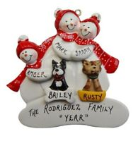 Personalized Snowman Family of 3 with 2 Dogs or Cats Christmas Ornament