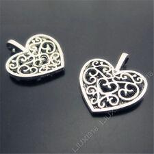 20pc Retro Tibetan Silver Hollow out Peach heart Flowers Pendant Charms PJ312