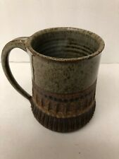"Stoneware Handmade Mug Brown Serrated Coffee Mug Cup Tall Signed HB 5 "" X  3"""