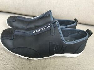 Merrell EUR 37.5 Leather Barrado Luxe Zip Up Shoes - Navy Blue