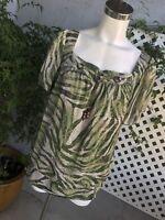 ZAC & RACHEL Womens Green Safari Sheer Shirt Blouse Short Sleeve Top Sz XL