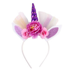 Unicorn Horn Baby Kid Flower Crown Headband Birthday Party HairBand Headwear