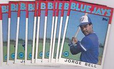 1986 TOPPS BOX BOTTOM LOT (11) JORGE BELL #A BLUE JAYS VGEX-EX *L1534