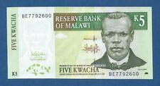 MALAWI -- 5 KWACHA ( 2005 ) -- UNC -- PICK 36c .