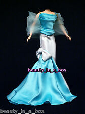 Aquamarine and White Satin Evening Gown Haute Couture Fashion for Barbie Doll Q