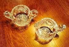 Early American Brillianat Crystal Cut Glass Creamer & Sugarer- 1900